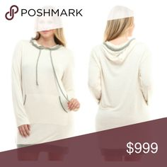 """(Plus) Oatmeal hoodie Oatmeal hoodie. 95% rayon/ 5% spandex. TTS with an oversized look and feel (I'm a 2x and the 1x actually fits very well). Long enough to be a hoodie dress depending on your height! Semi lightweight- perfect for layering under or over clothing.  1x: L 35"""" B 44"""" 2x: L 35"""" B 46""""  3x: L 36"""" B 48""""  4x: L 37"""" B 50""""  ⭐️This item is brand new from manufacturer without tags.  🚫NO TRADES 💲Price is firm unless bundled 💰Ask about bundle discounts Availability: 1x•2x•3x•4x •…"""