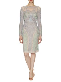 Silk Embellished Mermaid Sheath Dress from Temperley London on Gilt