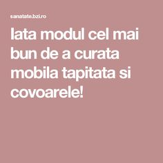 Iata modul cel mai bun de a curata mobila tapitata si covoarele! Clean House, Good To Know, Things To Do, Remedies, Cleaning, Mai, Cottages, Pandora, Home Decor