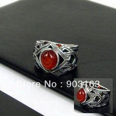 Grosir populer 1 pcs terlaris kedatangan baru manusia Stainless Steel & batu akik merah ukuran cincin 9 + pengiriman gratis