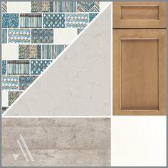 Shaker Cabinets, Quartz Countertops, Cool Kitchens, Backsplash, Home Remodeling, Tile Floor, Concrete, Tiles, New Homes