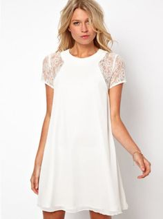 White Lace Short Sleeve Chiffon Dress
