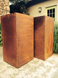 Two towers botanicalmetalworks@gmail.com Large Flower Pots, Metal Planters, Rusty Metal, Towers, Walls, Canning, Vegetables, Large Plant Pots, Rusted Metal