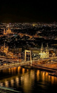 Budapest in night, Hungary Cool Places To Visit, Places To Go, Europa Tour, Budapest City, Capital Of Hungary, Heart Of Europe, City Lights, Paris Skyline, Beautiful Places