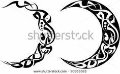 Maori Illustration Photos et images de stock Tribal Moon Tattoo, Moon Sun Tattoo, Sun Tattoos, Celtic Tattoos, Tribal Tattoos, Cool Tattoos, Tatoos, Sun Moon, Moonlight Tattoo