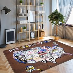 This vintage inspired rug features 50 colorful, classic license plates for cars, trucks and vehicles assorted throughout the Unites States of America map. The  graphics create an interesting center piece to any room and is a great conversation piece you'll enjoy sharing with your guests. #rugs