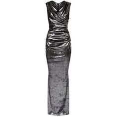 Talbot Runhof Glitter Velvet Gown ($1,445) ❤ liked on Polyvore featuring dresses, gowns, floor length evening gowns, ruched evening gown, velvet evening gown, velvet dress and off the shoulder dress
