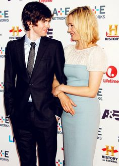 Freddie Highmore & Vera Farmiga-- uugh, they even have that chemistry out of character...so weird but i love it
