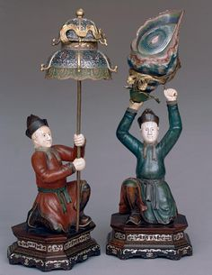 Pair of Figures, late 18th century China Wood, ivory, mother-of-pearl