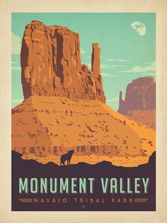 Monument Valley Navajo Tribal Park - Anderson Design Group has created an award-winning series of classic travel posters that celebrates the history and charm of America's greatest cities and national parks. Founder Joel Anderson directs a team of talented Nashville-based artists to keep the collection growing. This print celebrates the iconic beauty of Monument Valley.<br />