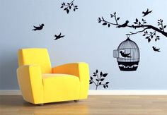 Wall Stickers Flowers and Trees Branch with a Bird Cage - wall-art.com