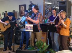 """Tom's Guitar Show All Stars also performed at the 2015 Bill Sackter Birthday Bash. """"Tom"""" is Tom Nothnagle, host of a local TV show which is broadcast once a month from the coffee house (last Tuesday, 6-7 pm),"""
