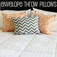 Envelope Throw Pillows - Adding Pops of Color in Your Home blog home tour  #craft #home #homedecor #diy
