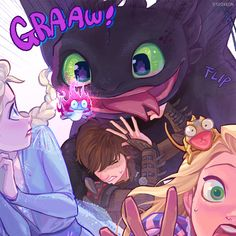 Rise of the Brave Tangles Frozen Dragons ( Elsa, Hiccup, Rapunzel ) Cute Disney, Disney Dream, Disney Magic, Disney Art, Disney Movies, Humour Disney, Funny Disney Memes, Disney And Dreamworks, Disney Pixar