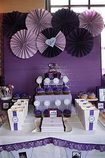 bid day table or recruitment. EASY paper fan circles against purple backdrop