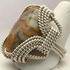 Handmade Wire Wrapped Agate CrazyLace Marble Stone by JandSGems, $130.00