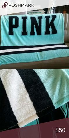 Victoria Secret throw blanket Victoria Secret throw blanket black teal and white very soft and fluffy ( full) nwot. If u dont like the price then make me an offer . I luv offers :) 47×63 vs Other