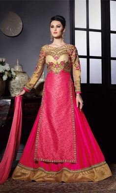 Beige and Magenta Designer Long Anarkali Suit