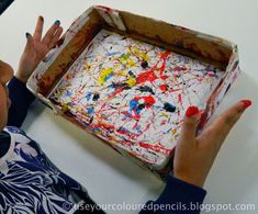 This was a fun lesson I did at the end of the school year after discussing abstraction and the work of Jackson Pollock with my grade 4 students. Divided into groups, students took turns placing a pie