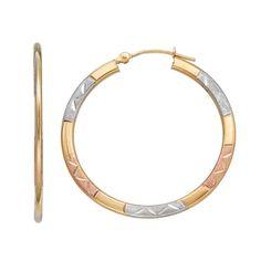 Forever 14K Tri Tone Textured Hoop Earrings, Women's, Gold