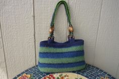 Handknitted Felted Purse Bag Green Blue Stripe with by FeltGarden, $58.00 Green Bag, Blue Green, Felt Purse, Local Artists, Blue Stripes, Purses, Trending Outfits, Unique Jewelry, Handmade Gifts