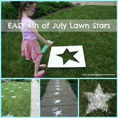 Sifted Flour Lawn Stars from Pink and Green Mama 4th of July. Fun project for booger and daddy I think ☺️