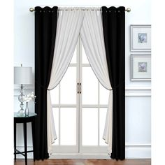 Platinum Blue Black & Ivory Six-Piece Blackout Panels Set ($30) ❤ liked on Polyvore featuring home, home decor, window treatments, curtains, grommet sheer curtains, grommet window panels, sheer curtain panels, black grommet curtains and blue curtains