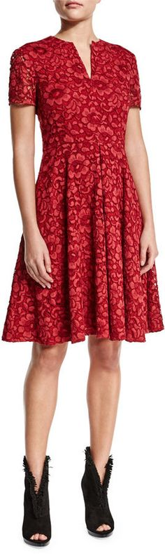 $1,695, Burberry London Short Sleeve Floral Lace Dress Parade Red. Sold by Neiman Marcus. Click for more info: https://lookastic.com/women/shop_items/417925/redirect