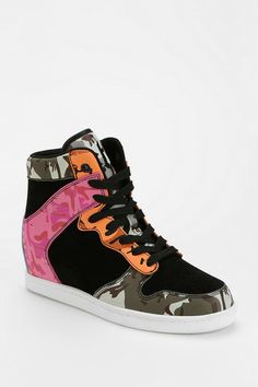 Cute To The Core Clutch Camo Hidden Wedge High-Top Sneaker #urbanoutfitters