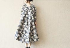 Image of Blue Big Floral Dress Women's Blouse Lovely Dress Fashion Women Clothes