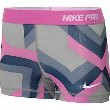Nike Pro Shorts Women | ... Pink Grey Printed S NIKE PRO core II Women's Compression Shorts Small