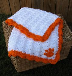 Clemson Tiger Paw Baby Blanket Crochet by coastalbluedesigns