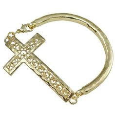 Amazon.com: Designer Inspired Sideways Cross Gold Plated Bracelet with Lobster Claw Clasp.: Jewelry