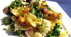 Těstoviny zapečené s brokolicí, smetanou a sýrem 500 g těstovin 700 g brokolice (1 menší hlávka) 150 g anglické slaniny (nemusí bý...