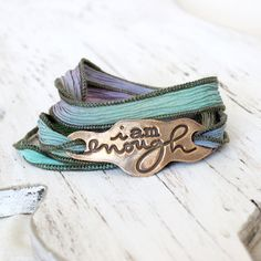 Custom hand dyed silk wrap bracelet I am enough by hfgifts on Etsy, $45.00