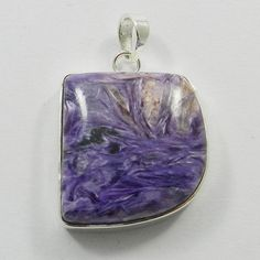 Genuine sterling 925 silver Natural Charoite gem fancy design pendant jewellery #Handmade #Pendant