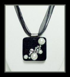 Black Resin Pendant with White Pearls Diamond Rhinestones. $15.00, via Etsy. #resin
