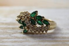 14K Vintage Diamond and Emerald cocktail ring S by TheHavenFinds