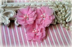 Pink Chiffon Flowers with Pearls and Rhinestone Center, for Headbands, Clothing, Sashes, Crafting,Set of 3, approx. 2 inches across, FL-168 by TresorsdeLuxe on Etsy https://www.etsy.com/listing/189390392/pink-chiffon-flowers-with-pearls-and
