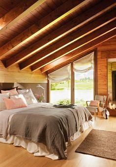 Bedroom design rustic style gray nuances