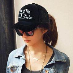 Luminous Justin Bieber black cap for men outdoor mesh baseball caps