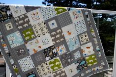 """hodge podge of kid fabrics to make a cute quilt. 6"""" squares, alternating solid and pieced"""