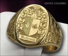 Crest, ring engraving. By Adone T. Pozzobon - 'Great embellishment on signet, nice engraving'