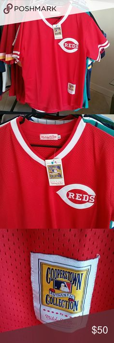 JOHNNY BENCH CINCINNATI REDS BP JERSEY SIZE XL BRAND NEW WITH TAGS Mitchell & Ness Shirts Tees - Short Sleeve
