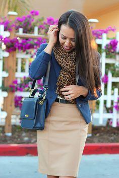 navy blazer + camel skirt + leopard blazer