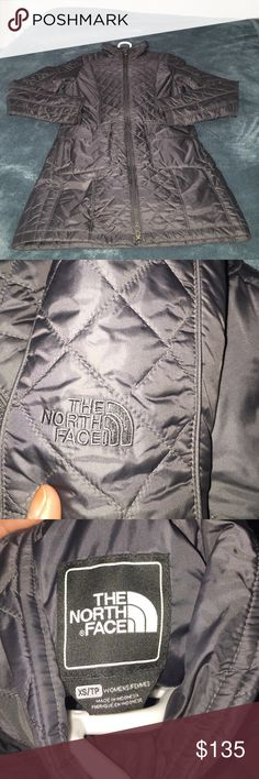 """Used the north face coat I used this last year still in good shape I am 4""""11 tall of I wear this it's down my knee.double pocket there's is a zipper pockets and a buttons pockets  no hood The North Face Jackets & Coats Puffers"""