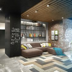 Home Design, Cozy Artist Loft Living Room With Sectional Sofa And Custom Bookshelves And Exposed Brick Wall ~ Awesome Creative Lofts Fit for Stylish Artists Lobby Design, Loft Interiors, Office Interiors, Apartment Interior, Apartment Design, Man Room, Home And Living, Living Room, Home Interior Design