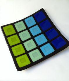 Blistered Colour Block Fused Glass Platter