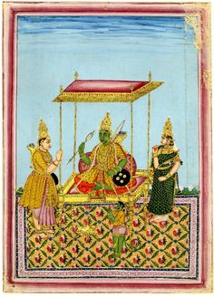 Album leaf; painting. Ramayana. Rama seated on a throne,flanked by Sita and saluted by Lak?ma?a and Hanuman. Painted on paper. According to register, folio 4, painting; 18thC(late)-19thC(early); Thanjavur