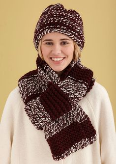 Simple Knit Hat and Scarf in Lion Brand Wool-Ease Thick & Quick - L30073